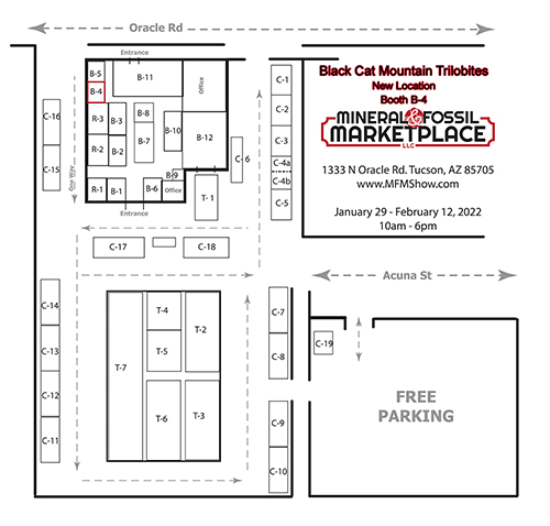 Map of our NEW show location at the Mineral Fossil Market Place, Click on the map for a larger view